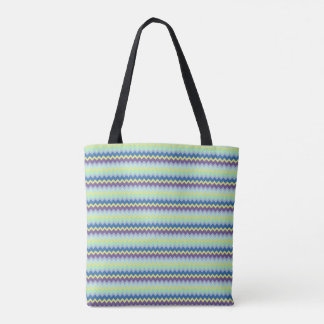 Small chevron pattern green purple and blue tote bag