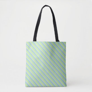 Small chevron pattern in blue green colors tote bag