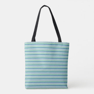 Small chevron pattern in green blue colors tote bag