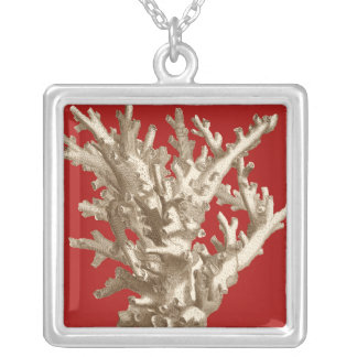 Small Coral in Red Square Pendant Necklace