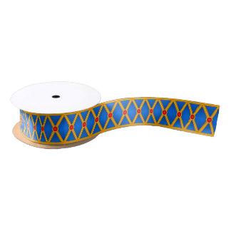 Small Lozenges (Blue/Red) Satin Ribbon
