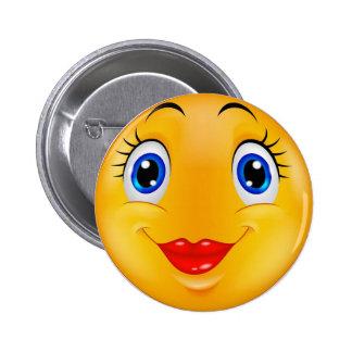 Smile girl 6 cm round badge