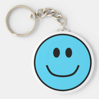 Smiling Face Keychain Blue 0002