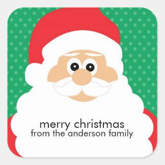 Smiling Santa Claus Holiday Square Sticker