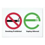 Smoking Prohibited. Vaping Allowed 13 Cm X 18 Cm Invitation Card
