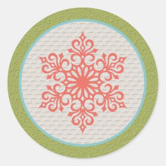 Snowflake Christmas Invitations Envelope Seals Round Sticker