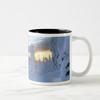 Snowghosts at sunset at Whitefish Mountain Two-Tone Mug
