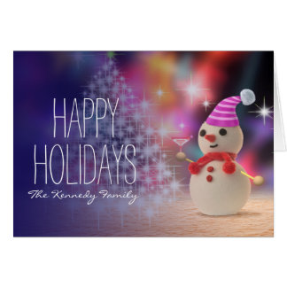 Snowman Holding Glass Greeting Card