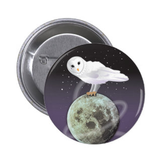 Snowy owl in the moonlight 6 cm round badge