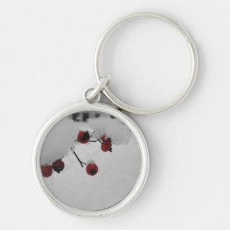 Snowy red berries Christmas Keychain