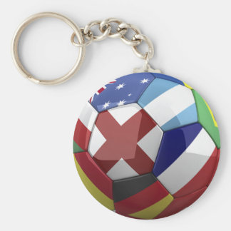 Soccer Ball World flags Basic Round Button Key Ring