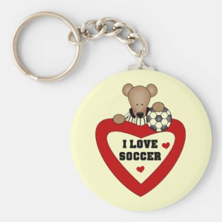 Soccer Bear T-shirts and Gifts Basic Round Button Key Ring