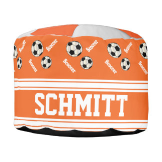 Soccer Orange, White and Black Sport Pattern Round Pouffe
