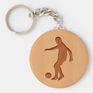 Soccer player silhouette engraved on wood design basic round button key ring