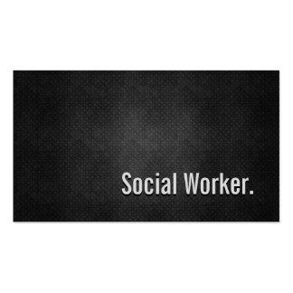 Social Worker Cool Black Metal Simplicity Pack Of Standard Business Cards