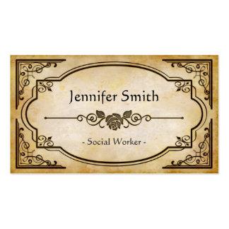 Social Worker - Elegant Vintage Antique Pack Of Standard Business Cards