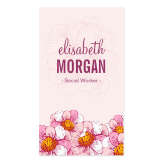 Social Worker - Pink Boutique Flowers Pack Of Standard Business Cards