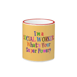 Social Worker Superhero, Colorful Text Ringer Mug