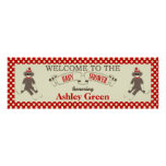 Sock Monkey Baby Shower Banner Personalise Poster
