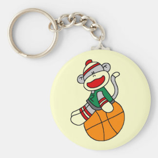 Sock Monkey Basketball T-shirts and Gifts Basic Round Button Key Ring