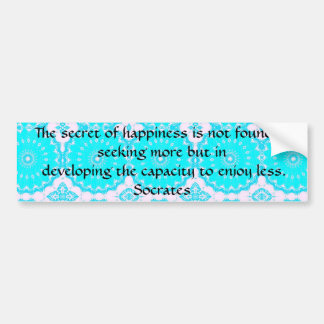 Socrates inspirational quote about Minimalism Bumper Sticker