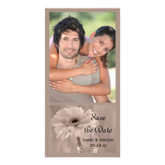 Soft Pink Tinted Daisy Wedding Save the Date Custom Photo Card