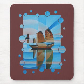 Soft Skies, Cerulean Seas and Cubist Junks Mouse Pad