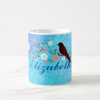 Soft Watercolors in Bright Blue Personalized Basic White Mug