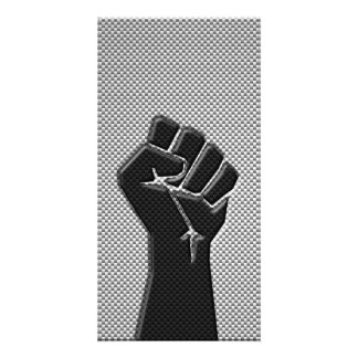 Solidarity Fist in Carbon Fiber Print Style Photo Card Template