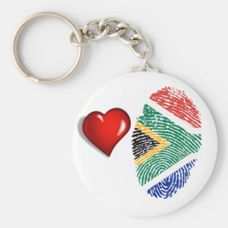 South African touch fingerprint flag Basic Round Button Key Ring