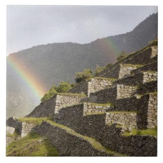 South America, Peru, Machu Picchu. Rainbows over Large Square Tile