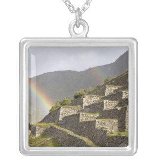 South America, Peru, Machu Picchu. Rainbows over Square Pendant Necklace