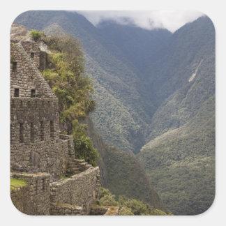 South America, Peru, Machu Picchu. Stone ruins Square Sticker