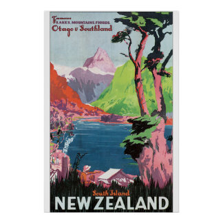 South Island New Zealand Vintage Travel Poster