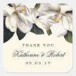 Southern Magnolia Botanical Wedding Favour Square Sticker