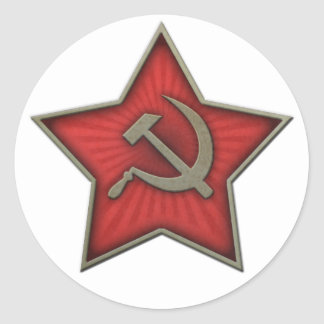 Soviet Star Hammer and Sickle Communist Round Sticker