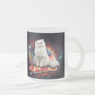 Space cat pizza frosted glass mug