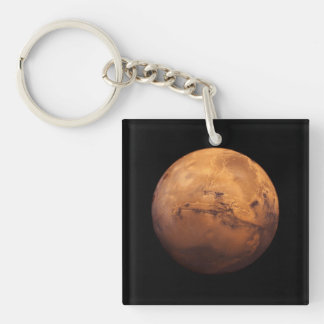 Space Full Color of the Planet Mars Single-Sided Square Acrylic Key Ring