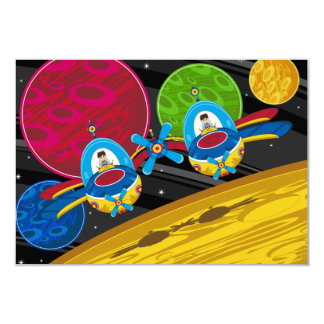 Spacemen Flying Spaceship over Planet 9 Cm X 13 Cm Invitation Card