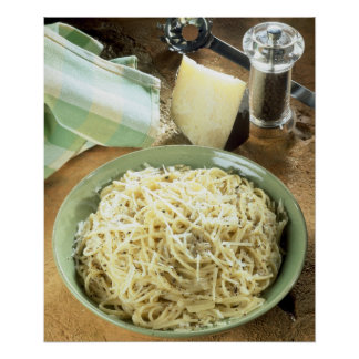 Spaghetti with Pecorino romano and black Poster