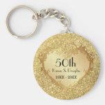 Sparkle Gold Heart 50th Wedding Anniversary Basic Round Button Key Ring