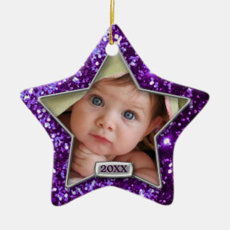 Sparkle Star Purple/Silver Photo Ceramic Star Decoration