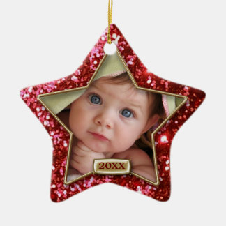 Sparkle Star Red/Gold Photo Ceramic Star Decoration