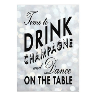 Sparkly 40th Birthday Time to Drink Champagne 13 Cm X 18 Cm Invitation Card