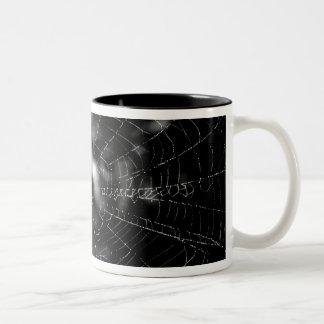 Spider webs make compelling shapes. Two-Tone mug
