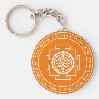 Spiritual Shree Yantra Basic Round Button Key Ring