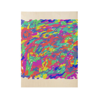 'Splattering of 80's' Abstract Digital Painting Wood Poster