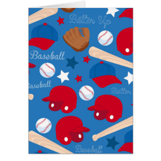 SPORTS Baseball Bat Glove Fun Colorful Pattern Greeting Card