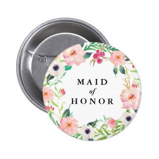 Spring Florals Maid of Honor Wedding 6 Cm Round Badge
