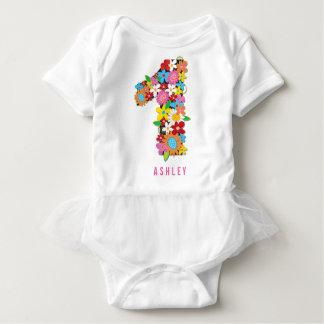 Spring Flowers Garden One Girl 1st Birthday Party Tee Shirts